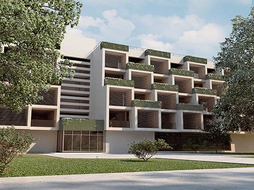 Общественные здания поселка с вертикальным озеленением