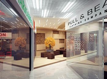 ТЦ Статус, вид на зону отдыха из торговой галереи. Вариант сезонного оформления